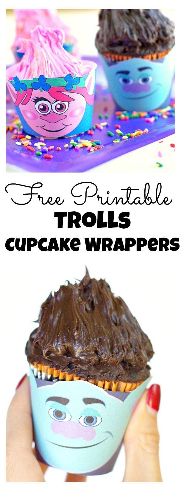 Free Printable Trolls Cupcake Wrappers
