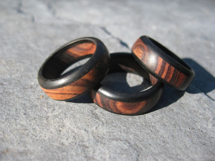 Kingwood & Ebony Triple Band Ring - Wood Ring, via Etsy.