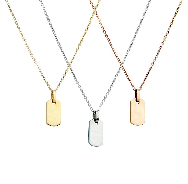 Cute mini dog tag pendants. Look great layered. Available mid-June 2012.