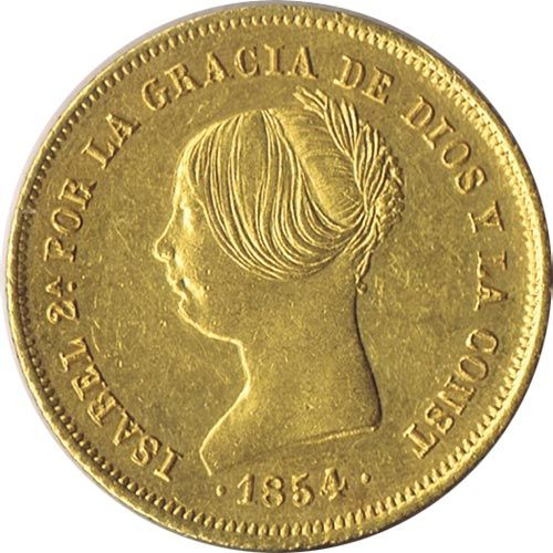 Moneda de oro 100 Reales Isabel II 1854 Madrid.