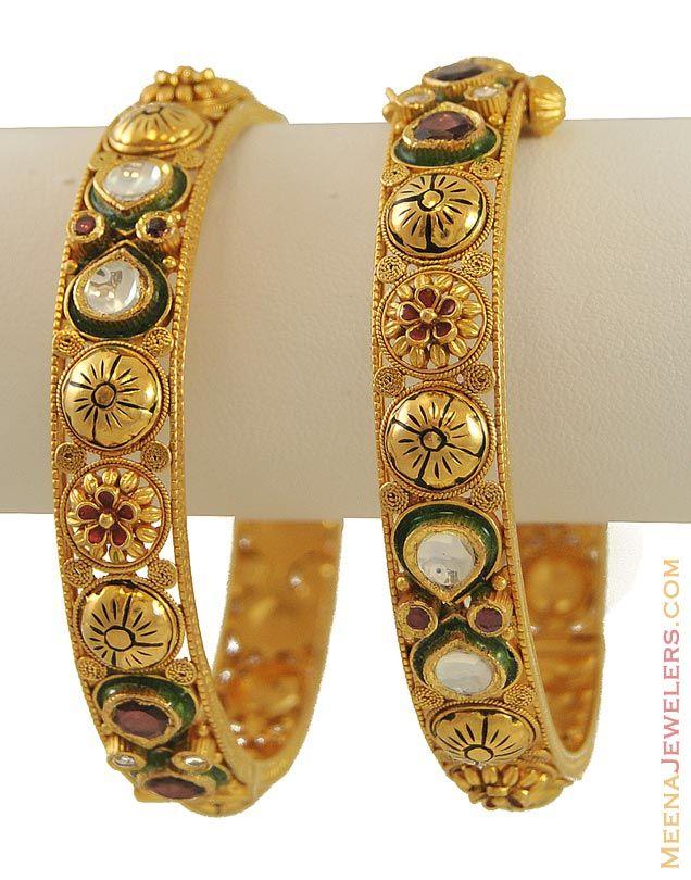 Antique Gold Bangles 22k gold antique kundan