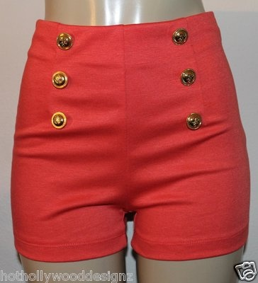 Sexy CORAL Sailor Stretch Shorts!  Available in all colors and sizes.