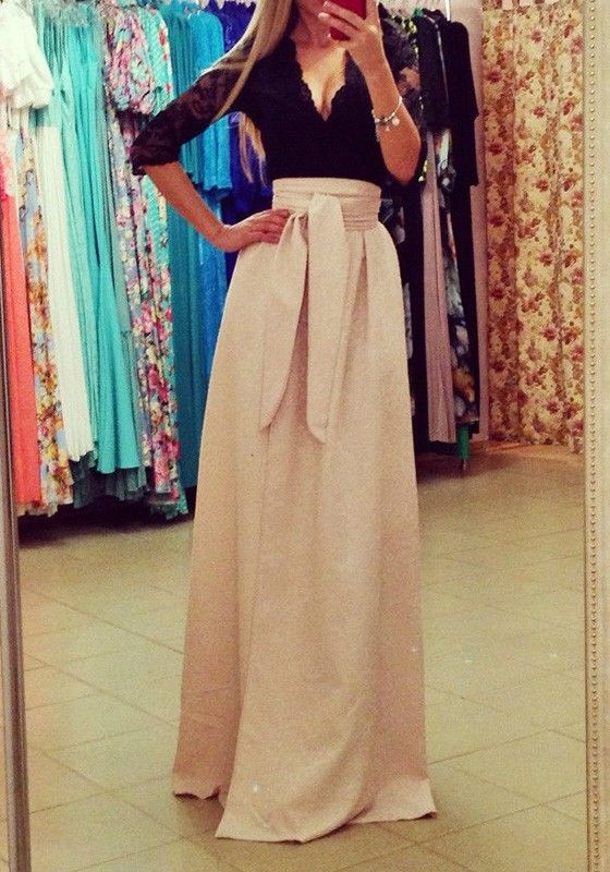 cfca7eb4d Beige Patchwork Hollow-out Lace Irregular V-neck Maxi Dress ...
