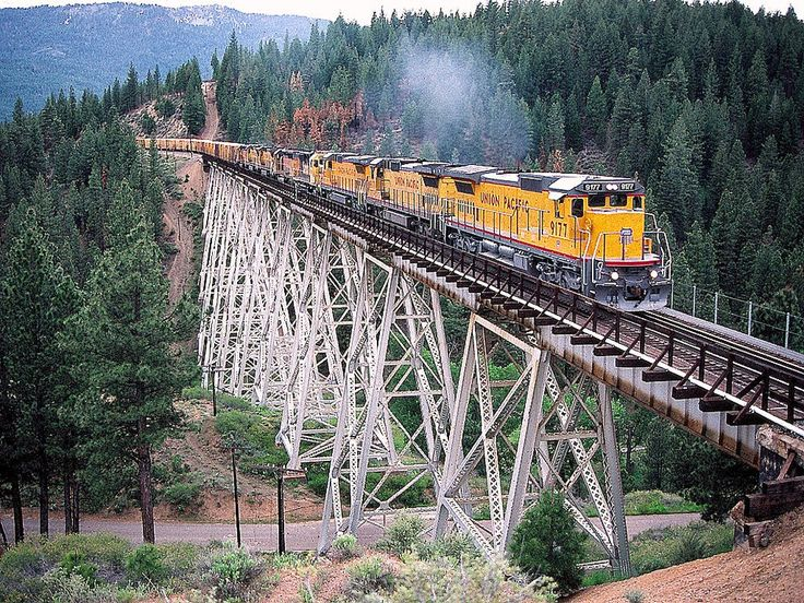 Union Pacific lead engine 9177 is seen here crossing the Clio Trestle over Feather River Canyon, California on the Western Pacific rail road.