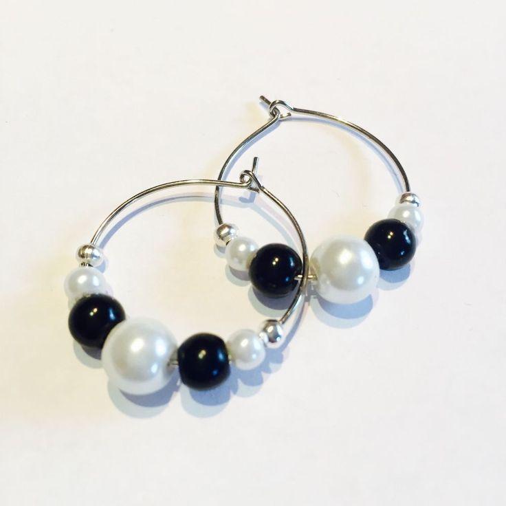 Black And White Pearl Silver Hoop Earrings,small Silver Hoops,festival Earrings | eBay