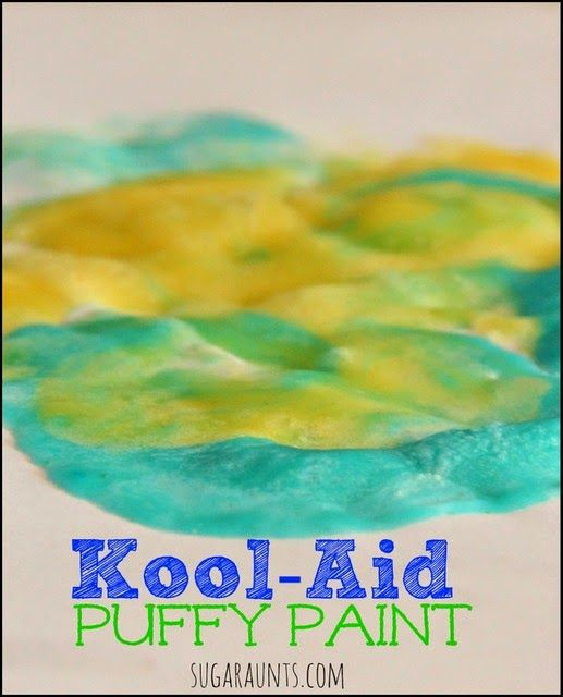 I mixed 1/4 cup of flour, one packet of Ice blue raspberry lemonade Kool-Aid, and 4 Tbsp of warm water. The YELLOW paint was the same recipe, only using a packet of lemonade flavored Kool-Aid.  Mix the paints up until it's a smooth consistency and painting is ready to begin!