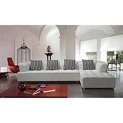marthena 2piece white leather sectional sofa with ottoman by eurodesign