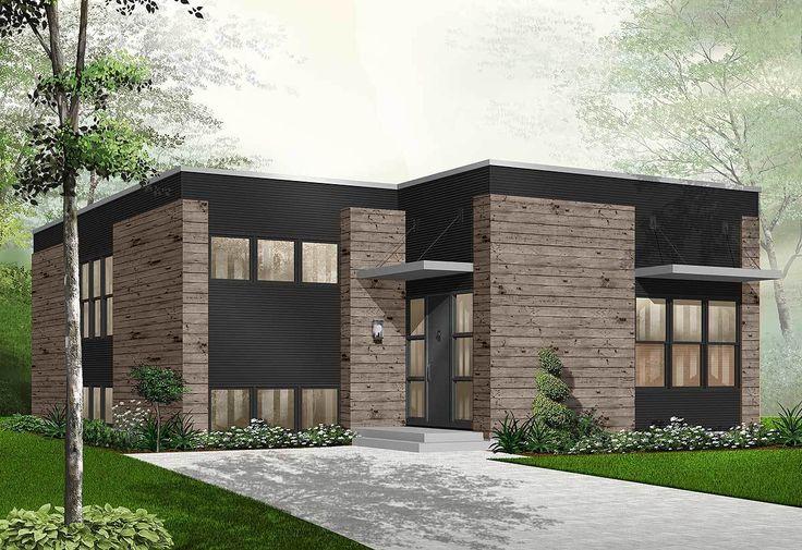 Plano de casa moderna con hermoso diseño, 1 planta y 2 dormitorios | Planos de casas