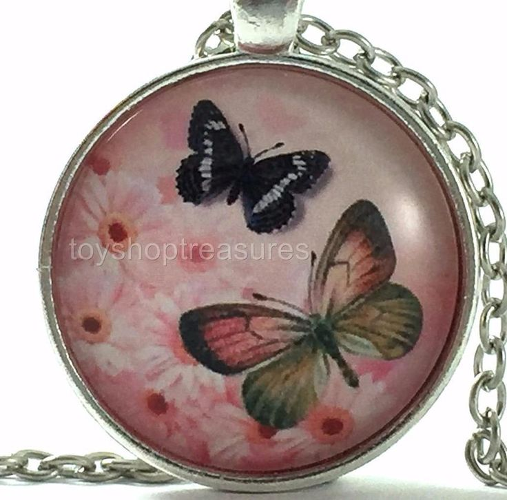 New Flower Butterfly Necklace Pink with Daisy Flowers Pendant - Silver fkf