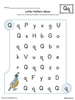 Letter Q Pattern Maze Worksheet (Color) Worksheet.In the Letter Q Pattern Maze Worksheet in Color, students follow the pattern Q-q-Q-q through the maze to reach the final destination.