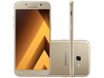 """Smartphone Samsung A5 2017 32GB Dourado Dual Chip - 4G Câm. 16MP + Selfie 16MP Tela 5.2"""" Octa Core     R$ 1.779,90  em até 10x de R$ 177,99 sem juros no cartão de crédito"""