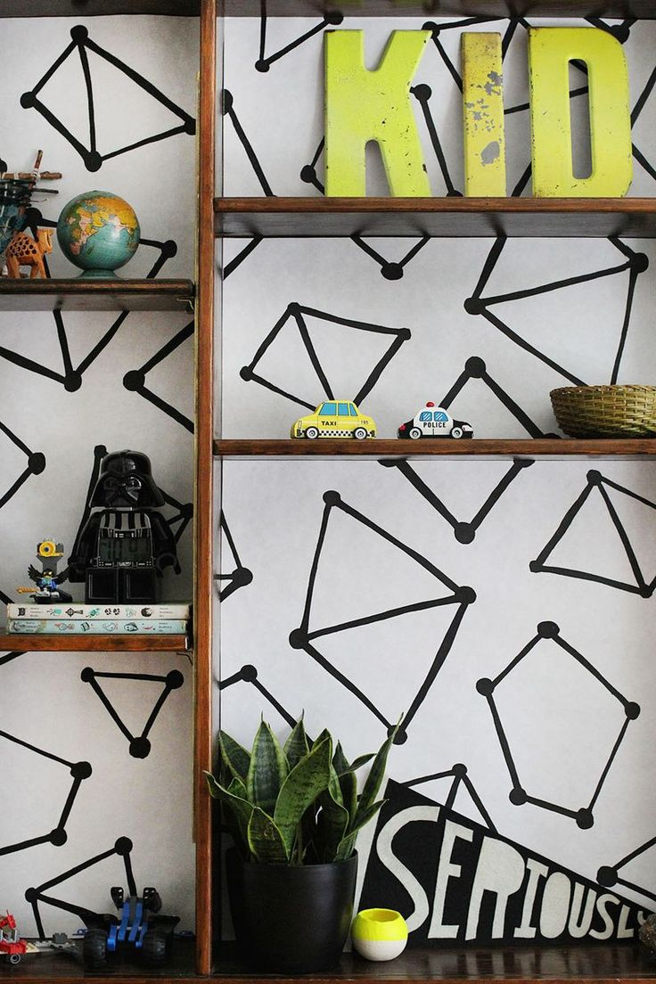 + DIY bookshelf wallpaper +
