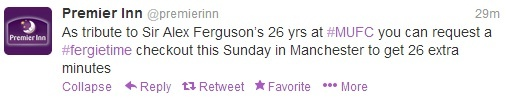 """Premier Inn also marked the announcement of Sir Alex Ferguson's retirement. The hotel chain tweeted the below to state that guests staying in a Premier Inn in Manchester could request a """"Fergie time"""" checkout this Sunday, giving them 26 extra minutes in the room – one minute for every year he managed the club."""
