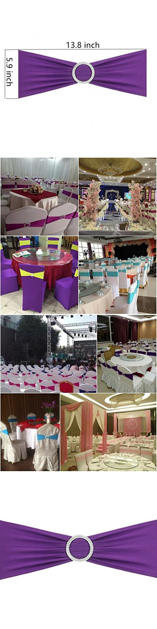 Fvstar Stretch Wedding Chair Cover Bands with Buckle Slider Sashes Bow Banquet Party Decorations,Set of 10 pcs (Puple with Ring Buckle)