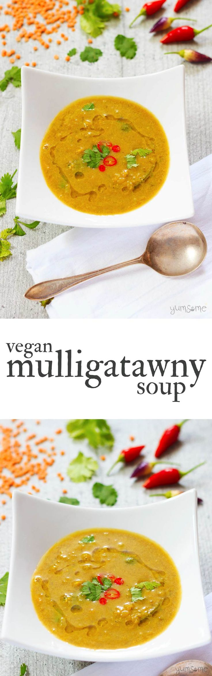 Spicy, warming, filling, delicious, and full of fibre and protein, my vegan mulligatawny soup is just the thing for chilly autumn evenings. | yumsome.com