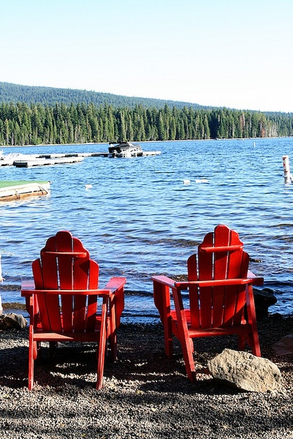 Life At The Lake With Adirondack Chairs
