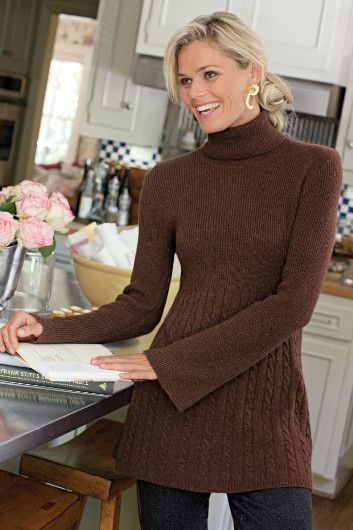 """MICHELLE SWEATER  $98.95 - Snuggly cashmere blend tunic has charming details like narrow rib-knit on the turtleneck, long fully fashioned sleeves and bodice that meets up with contrasting cable and jersey knit, creating an empire-waist effect. Flattering design flows over hips for a slimming silhouette. Viscose/lambswool/nylon/cashmere/angora. Misses 30"""" long."""