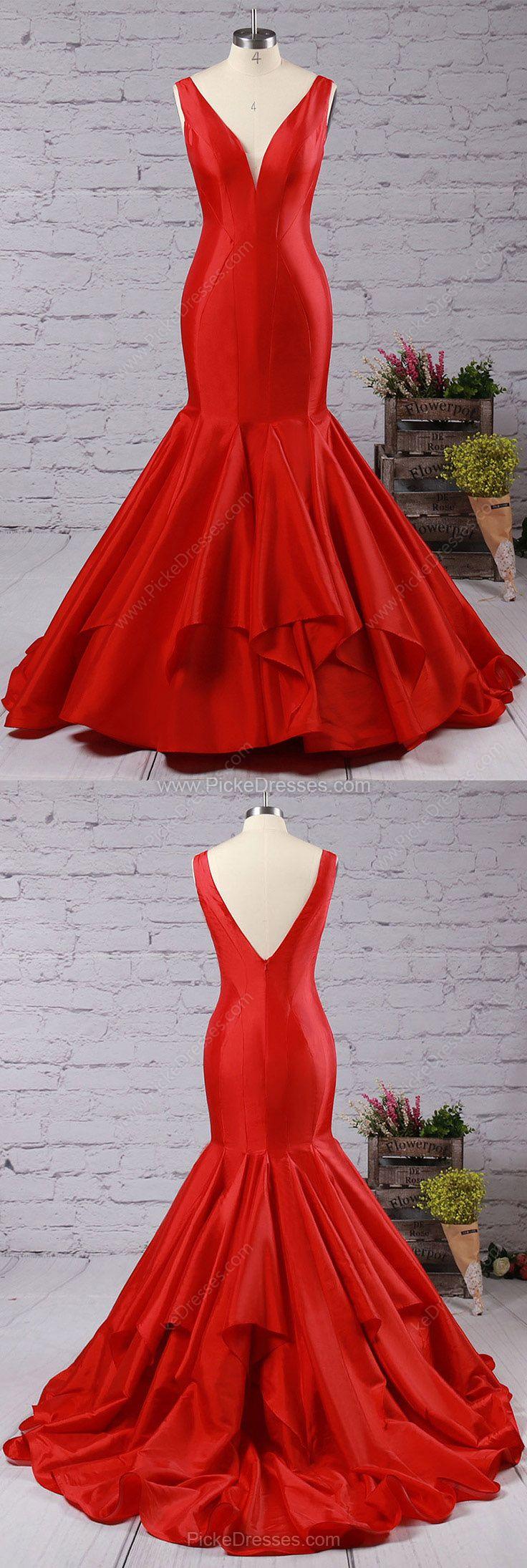 Red Prom Dresses,Long Prom Dresses For Teens,Cheap Prom Dresses 2018,Trumpet/Mermaid Prom Dresses V-neck, Taffeta Prom Dresses with Ruffles