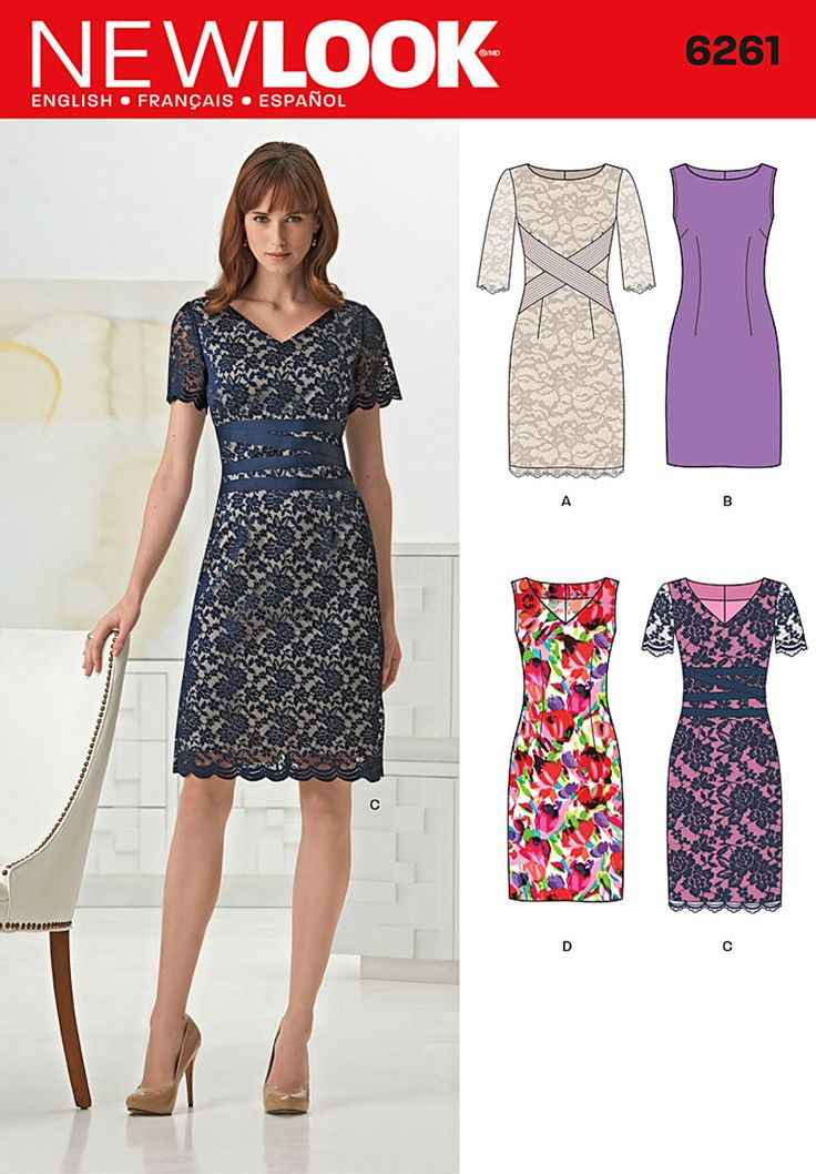 This classic sheath dress can be made sleeveless, with short sleeves or 3/4 length sleeves. Sew it in one fabric or add a lace overlay and embellish with ribbon at waistline. DIY with New Look pattern 6261.