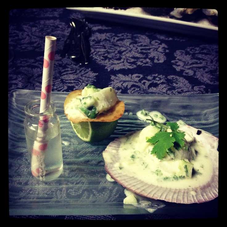 Scallop ceviche with lime, young coconut & tequilla