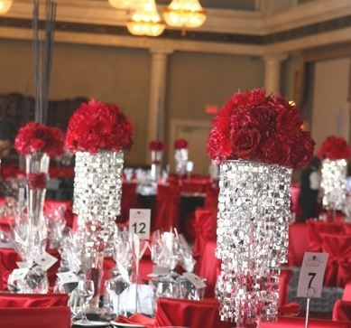 Red Reception Wedding Flowers Decor Flower Centerpiece