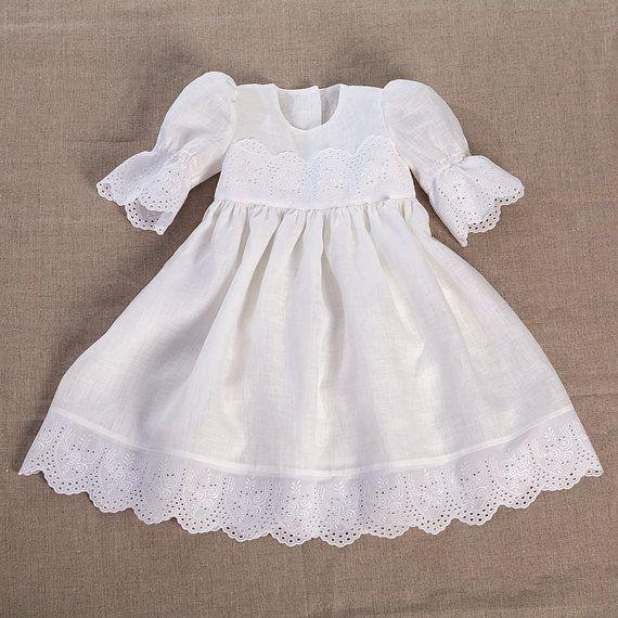 Bonnet lin robe de baptême robe de baptême bébé fille par Graccia