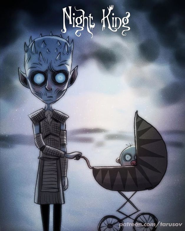O ilustrador russo Andrew Tarusov resolveu fazer a versão do estilo artístico do diretor Tim Burton de vários personagens de Game of Thrones. O resultado ficou maravilhoso e gótico! As suas artes inclui: Daenarys, Jon Snow, Cersei, Rei da Noite, Arya, Sansa, Brienne, Tormund, Melisandre, Varys, Tyrion, Misandei, Verme Cinzento, Joffrey, Montanha e Cão de Caça