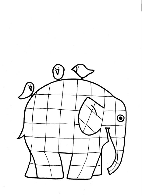Lines Across: Elmer the Patchwork Elephant Coloring Page