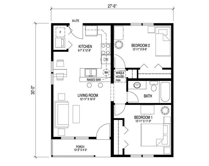 Base floor plan reno 1950s bungalow pinterest for 1950s floor plans