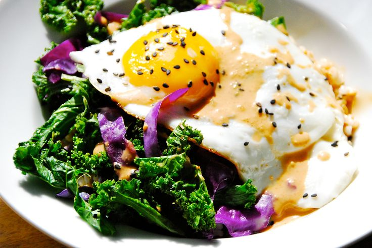 Rice Bowls with Pan-Crisped Sesame Kale, Fried Egg and Sweet & Smoky Chili Sauce