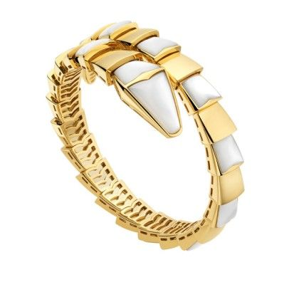 bvlgari serpenti yellow gold bracelet size s white mother of pearl featured