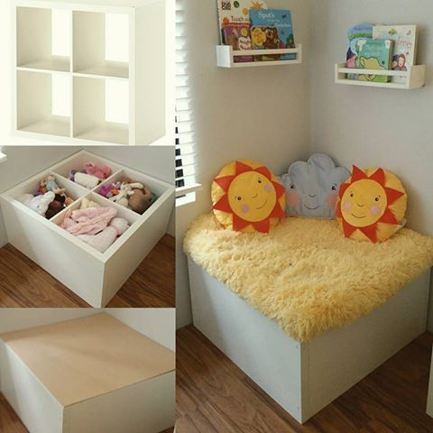 Reading corner with storage - can be crafted out of converted storage cubes with a padded lid attached.