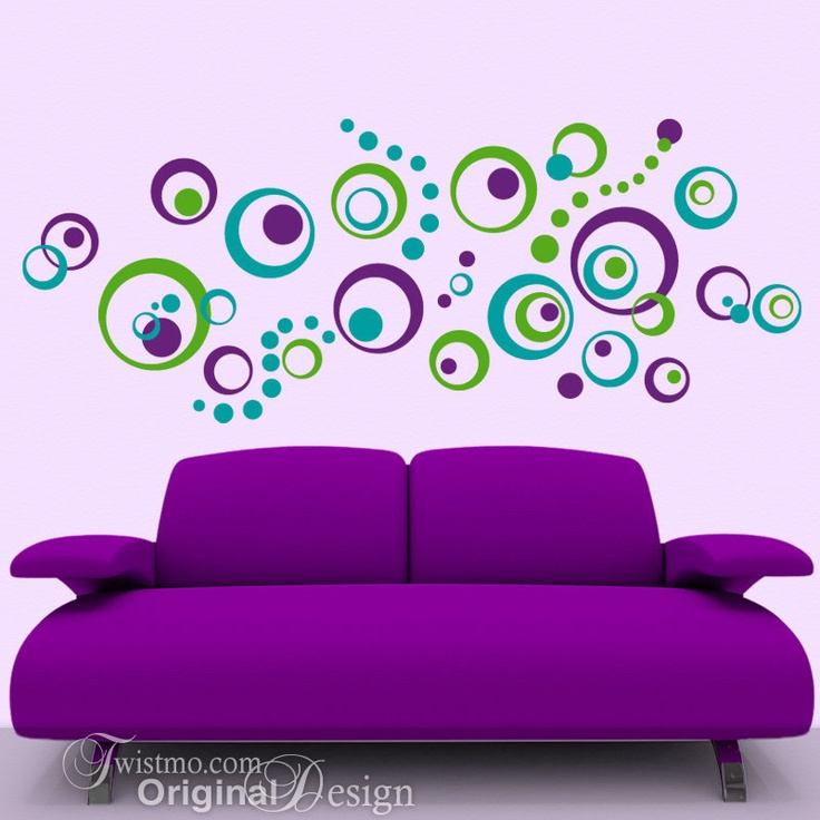 Vinyl Wall Decals: 72 Polka Dots and Circles, Abstract Designs, Vintage Retro Decor. $60.00, via Etsy.
