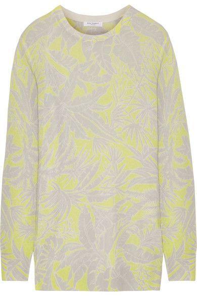 Equipment - Rei Intarsia Cashmere Sweater - Chartreuse - x small