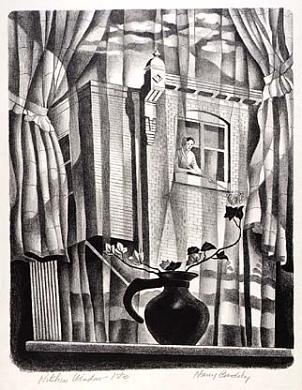 HARRY BRODSKY From My Kitchen Window (lithograph)