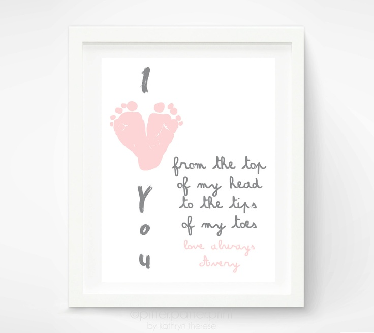 Mothers Day Gift for Grandma - I Love You Baby Footprint Art - Personalized Gift for New Mom, Mother, Grandmother - Baby Print. $30.00, via Etsy.