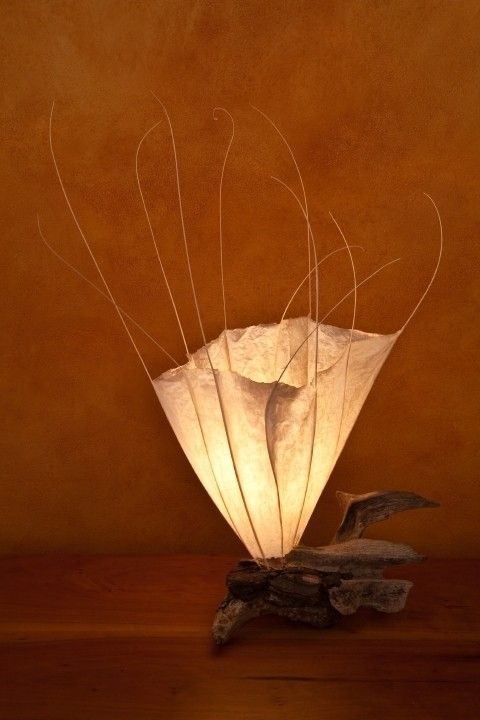 """""""Kaipua""""-(Hawaiian for Sea Blossom) can be created as a table mounted or wall mounted light sculpture on driftwood."""