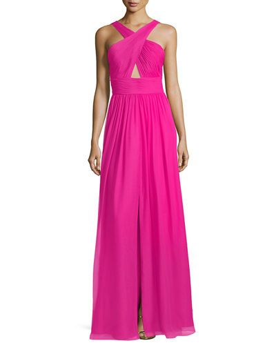 AIDAN MATTOX PLEATED SILK CHIFFON HALTER-NECK GOWN. #aidanmattox #cloth #