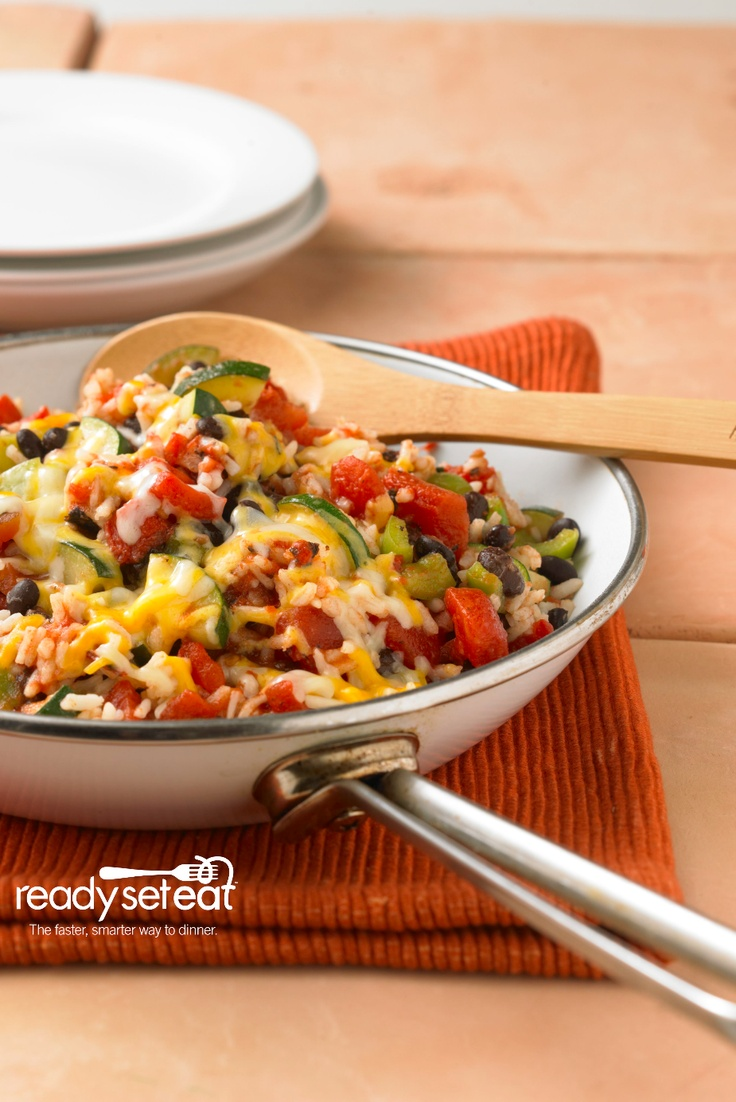 Zucchini, Black Bean and Rice Skillet....this All Star vegetarian recipe is a an easy to prepare recipe with zucchini, tomatoes, and cheese