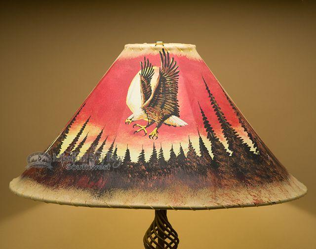 """Southwestern Leather Lamp Shade 22"""" -Sunset Eagle"""