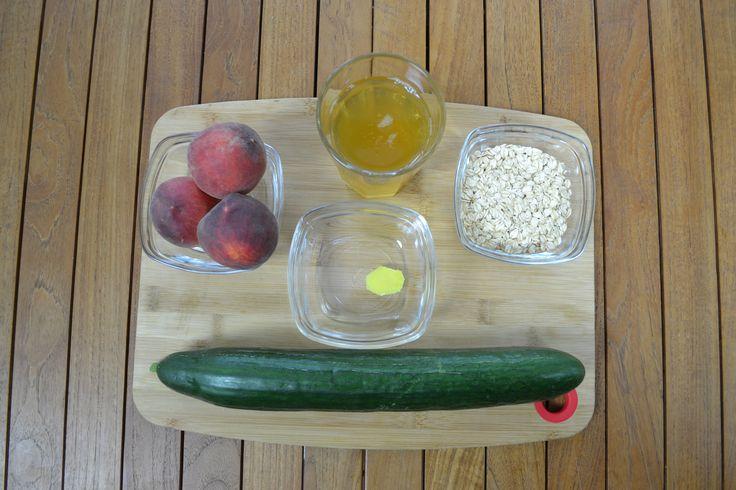 Estos son los ingredientes: te verde, pepino, melocotón, avena y jengibre.
