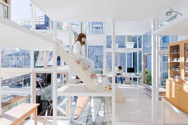 Sou Fujimoto Architects - Transparent, Glass House - Tokyo, Japan - Stairs