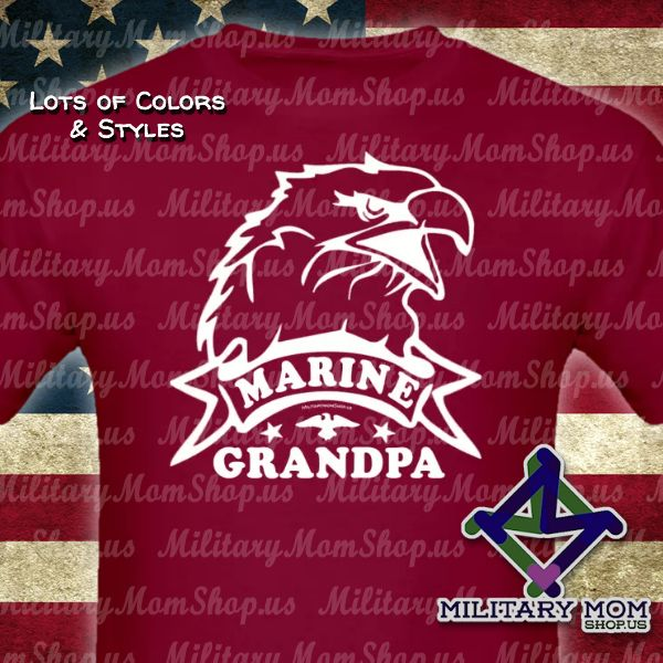 Awesome Marine Grandpa Shirts!! Big Eagle Head shirts in lots of colors and styles. #MarineGrandpa #Marines #MarineShirts - MilitaryMomShop.us