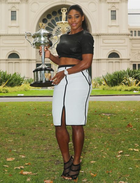 Serena Williams Photos Photos - Serena Williams of the United States holds the Daphne Akhurst Memorial Cup during a photocall at the Royal Exhibition Building in Carlton Gardens after winning the 2015 Australian Open on February 1, 2015 in Melbourne, Australia. - Australian Open 2015 - Women's Champion Photocall