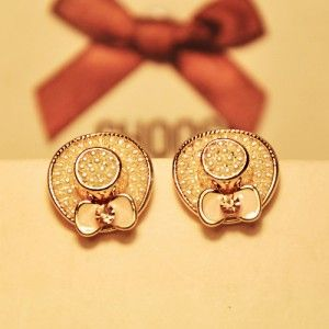 Golden Hat Shape Stud Earring