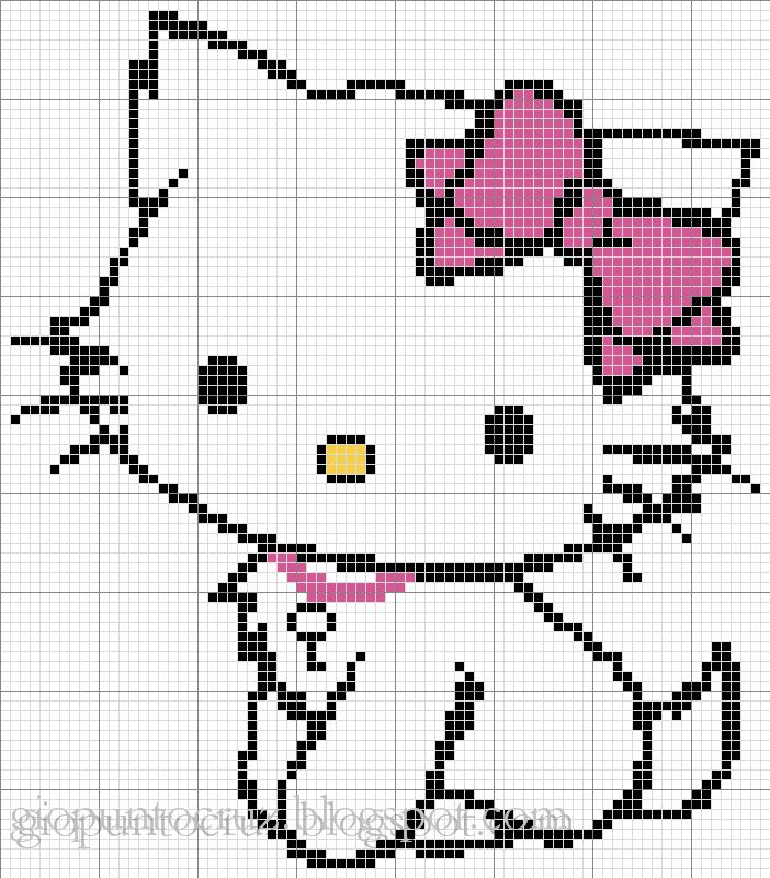 Korsstygns-Arkivet ♥: HELLO KITTY FREE CROSS STITCH PATTERN