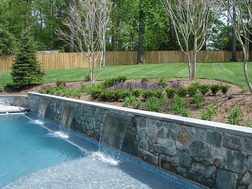 Water scupper backyard swimming pool landscape flickr for Swimming pool landscaping plants