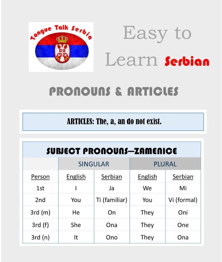 Its never been easier to learn Serbian!  Get FREE flashcards and FREE charts. Plus, links to other great sources.