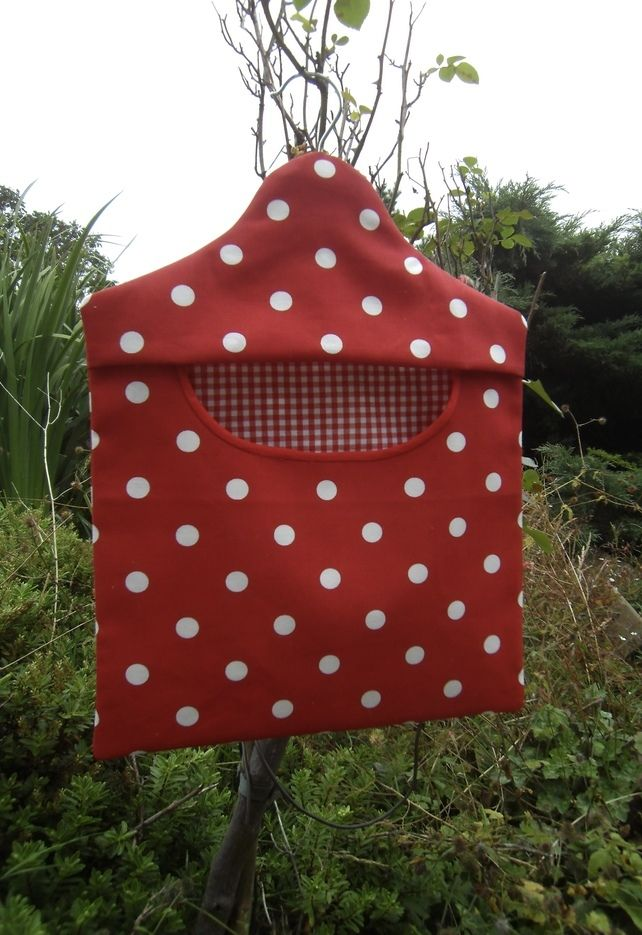 Peg bag in red and white spotty fabric. £6.00