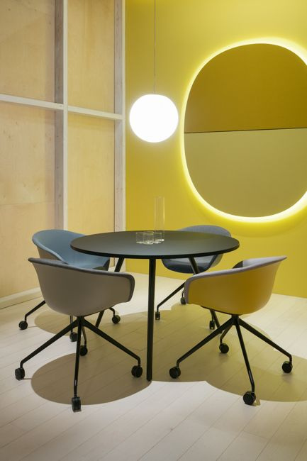 Duna chairs, Meety table, Parentesit acustic wall panels with backlight all by LievoreAltherr